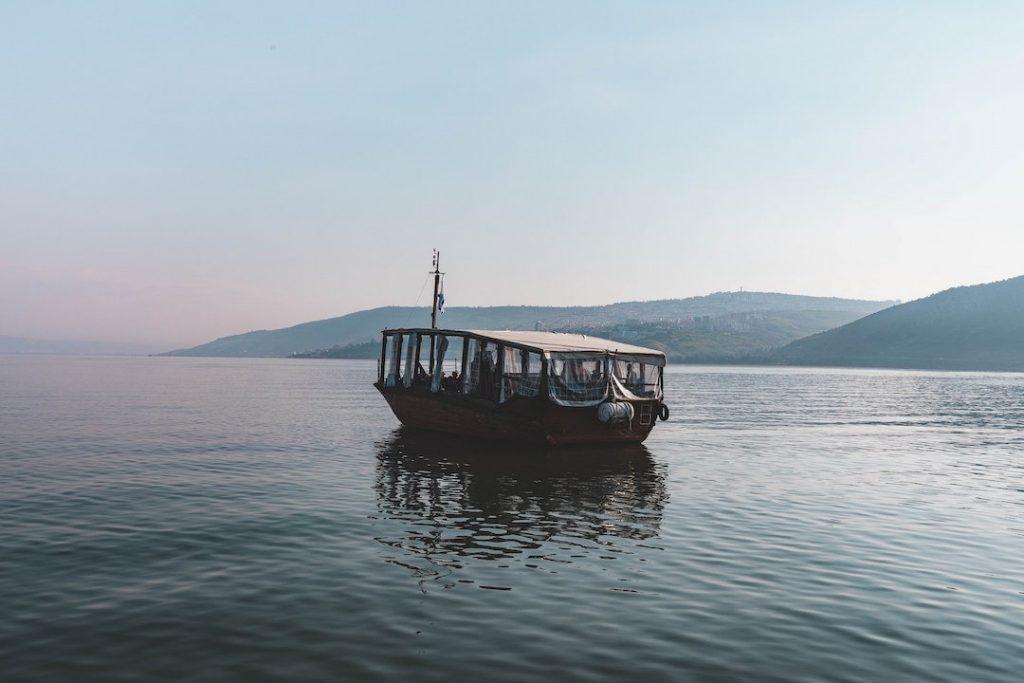 Boat cruising on the Sea of Galilee in Israel