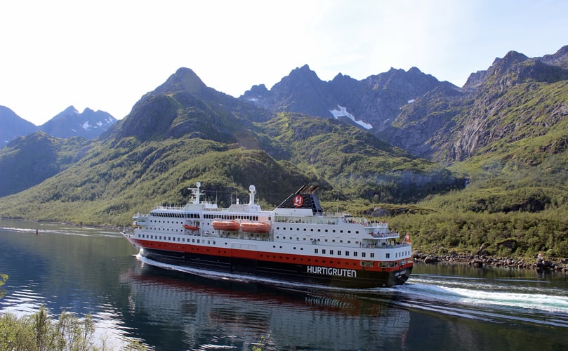 cruise liner sailing through coastal mountain scenery