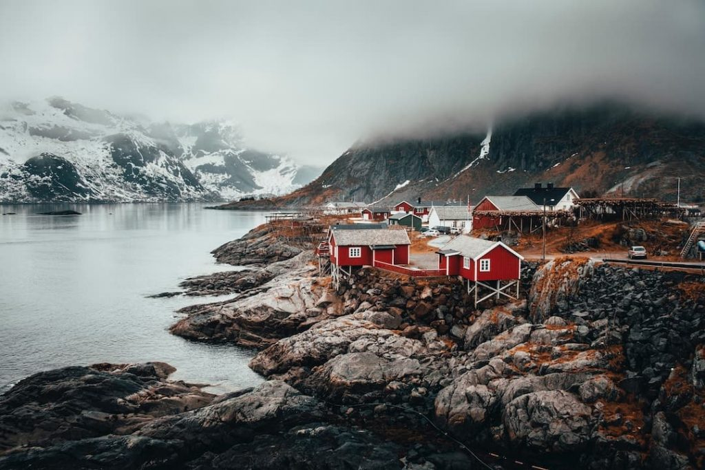 A fishing village and rocky shoreline in Norway