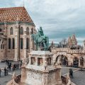 A monument at Fisherman's Bastion, Budapest, Hungary