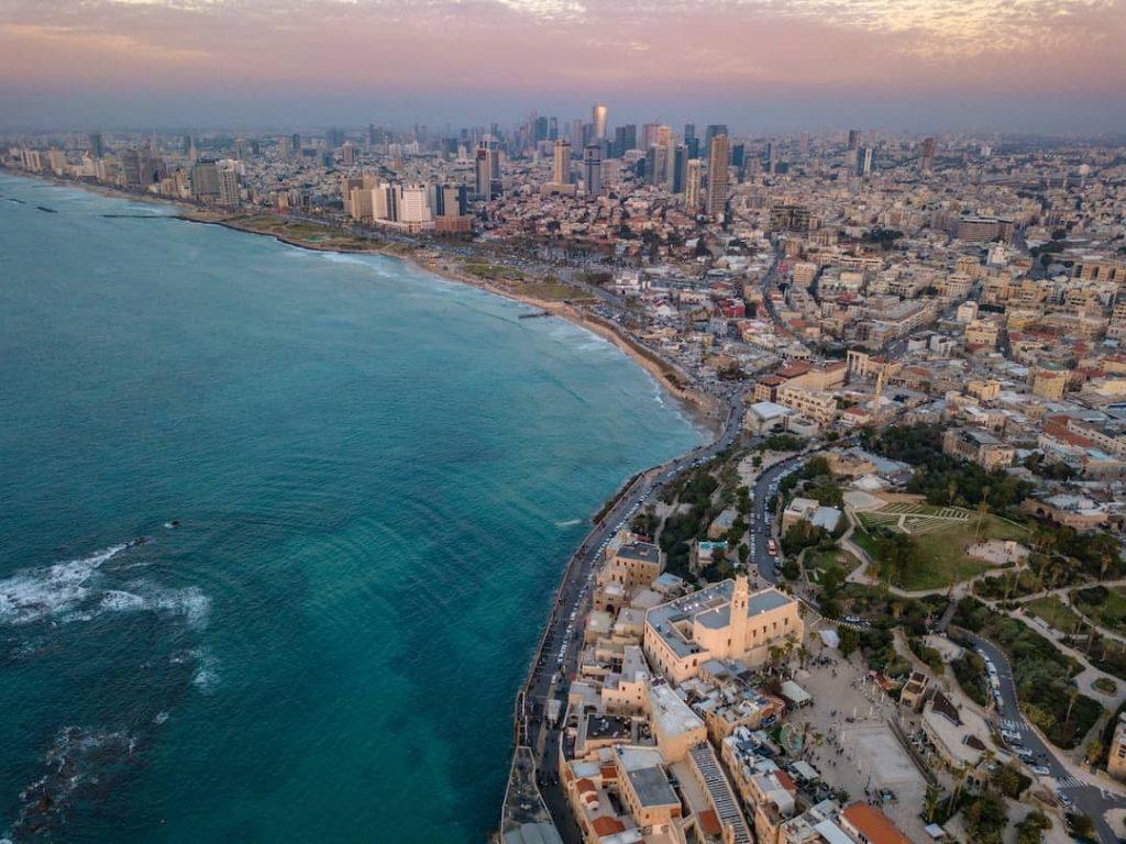 Aerial photo of Tel Aviv city skyline