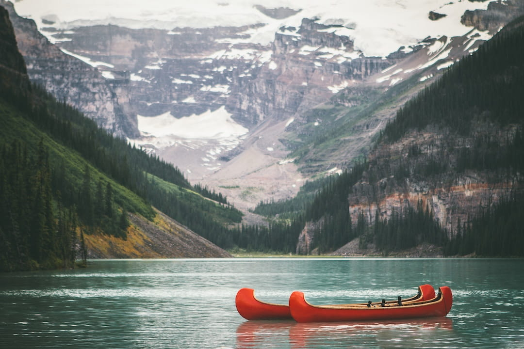 Two canoes on a lake in Alberta