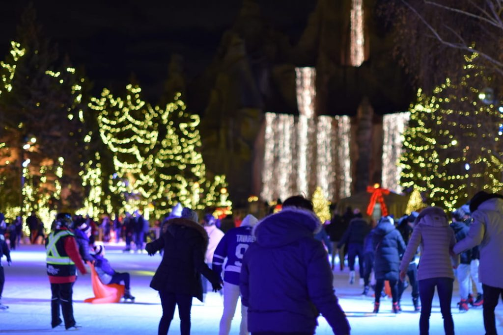 People skating at Canada's Wonderland WinterFest in Toronto, Canada