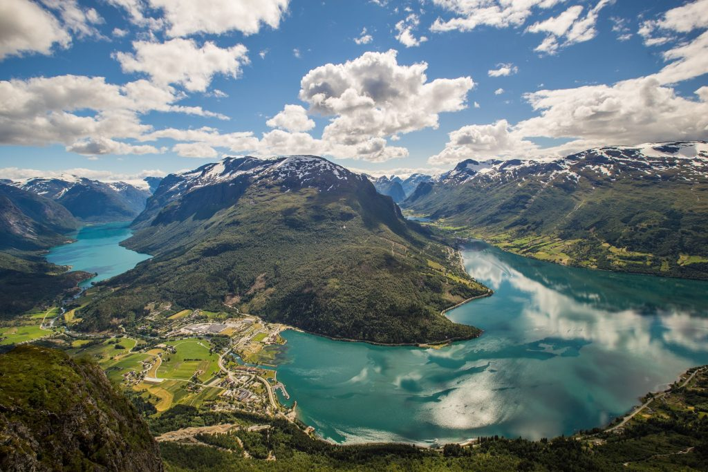 aerial photography of fjord landscape