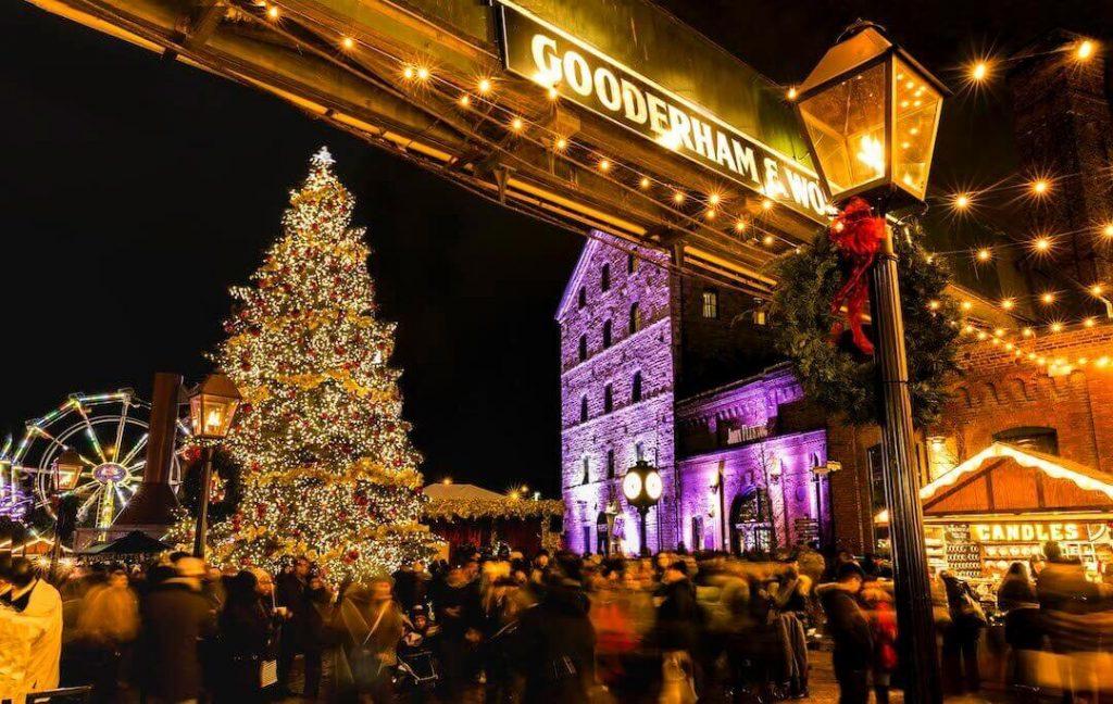 A Christmas tree and festive decor at the Toronto Christmas Market