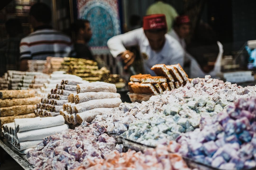 Turkish delight and traditional sweets in a market in Istanbul