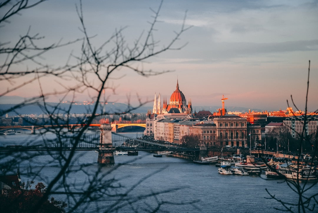 The Parliament building along the Danube in Budapest Hungary