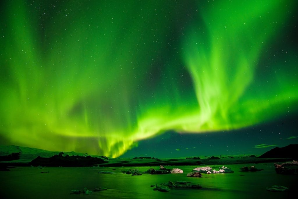 Northern lights dancing in the night sky in Iceland