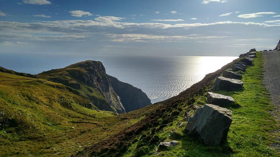 green cliffs beside the sea