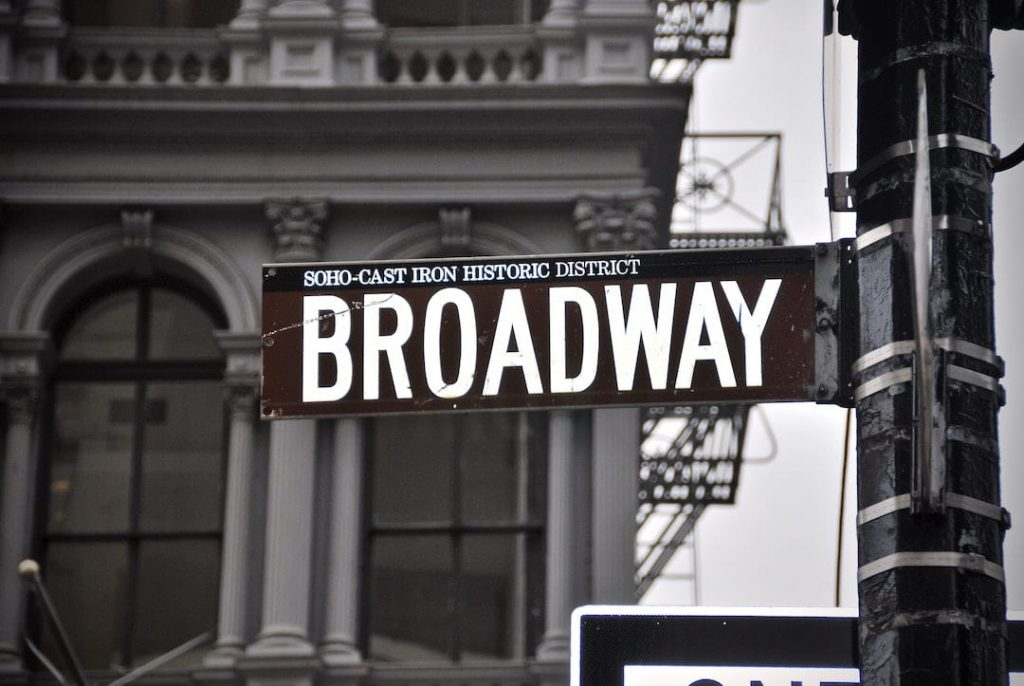 Black and white photo of Broadway street sign in New York