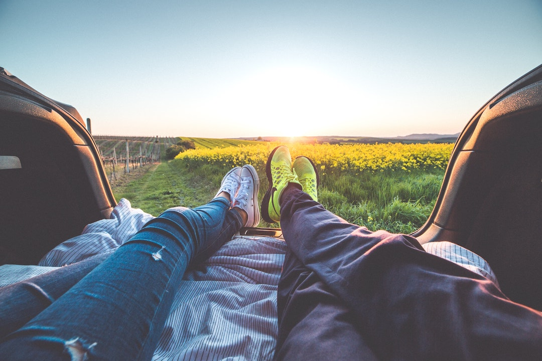 View of two people's legs in a vehicle with flowers in the background