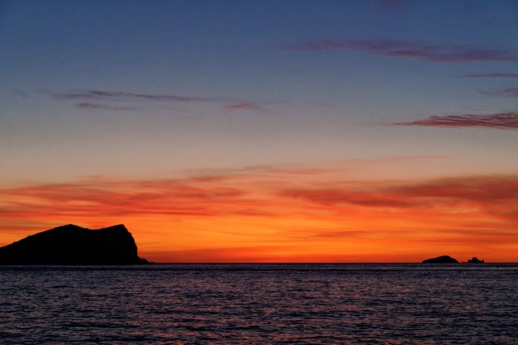 Sunset over the sea in Ibiza