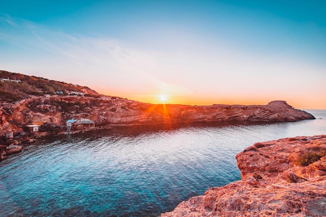 Rock formations and sea at Punta Galera, Ibiza, Spain