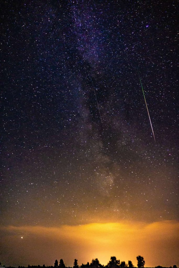 Shooting star in the sky during a meteor shower