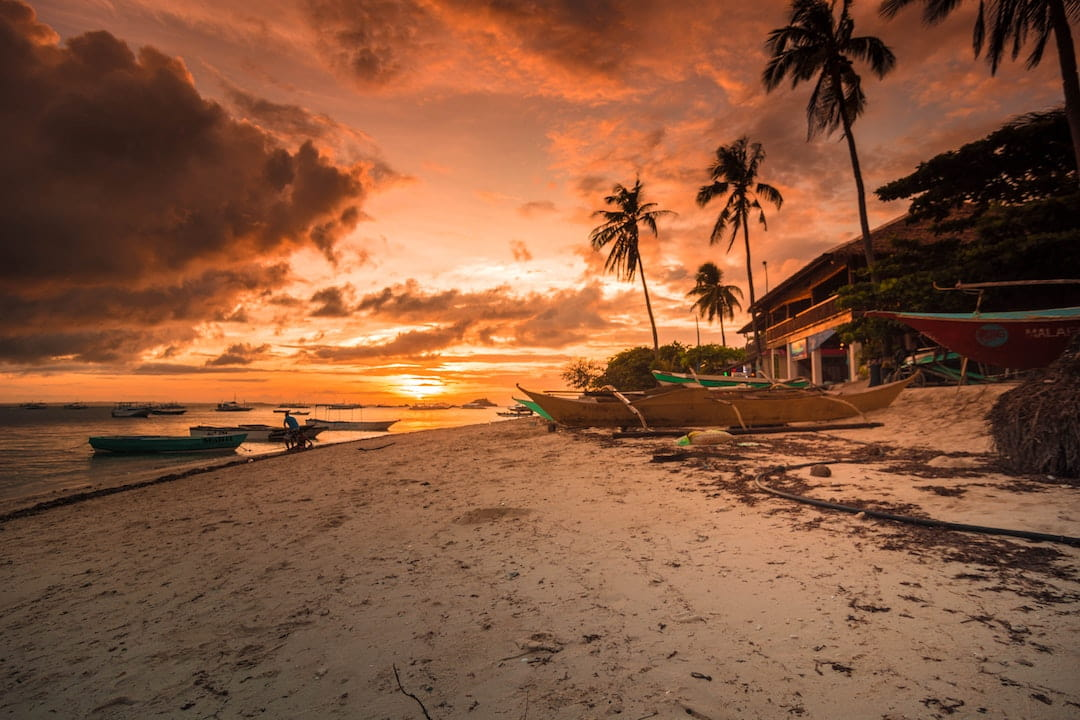 Sunset at a beach in the Philippines