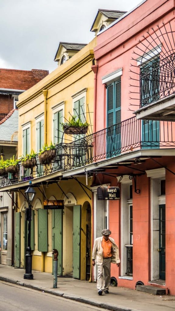Man walking down the street in New Orleans, Louisiana