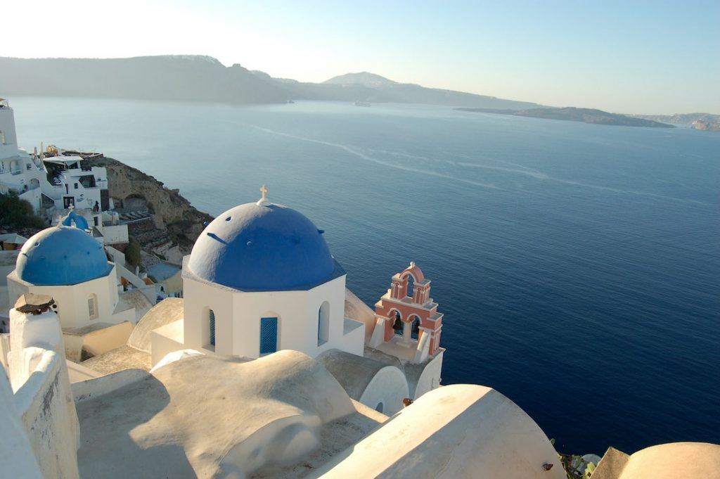 Blue domed buildings on Santorini, Greece