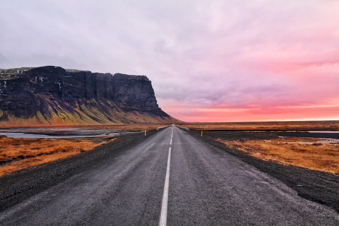 Empty open road in Iceland