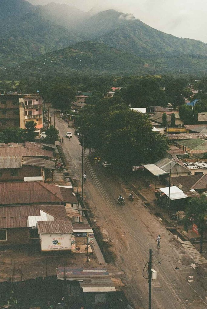 Aerial view of a street in a city in East Africa