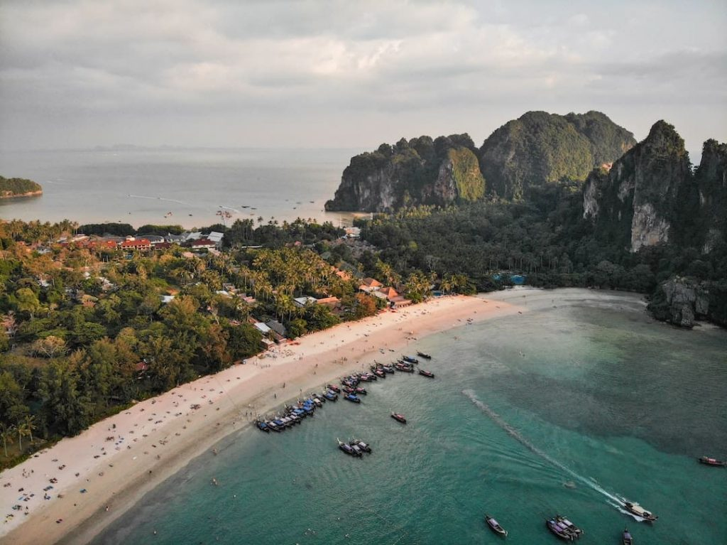 Aerial shot of beaches in Railay, Thailand