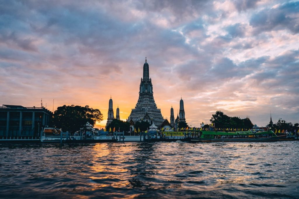 Temple along river in Bangkok, Thailand