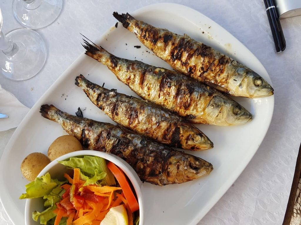 Plate of grilled fish, Lisbon, Portugal