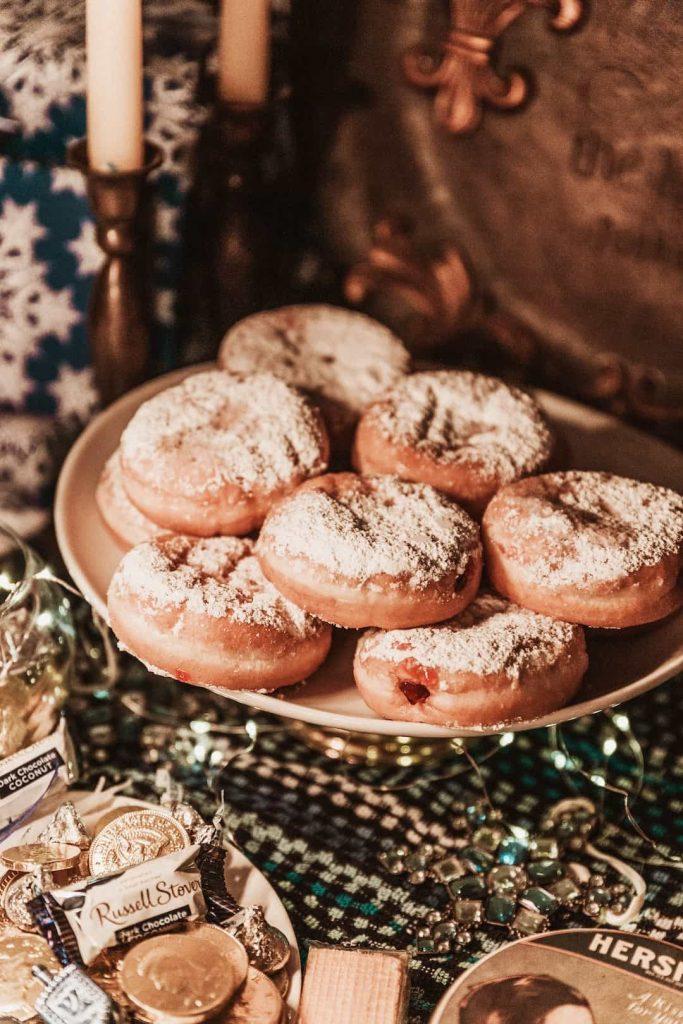 Israeli Sufganiyot jam-filled doughnuts at Hanukkah