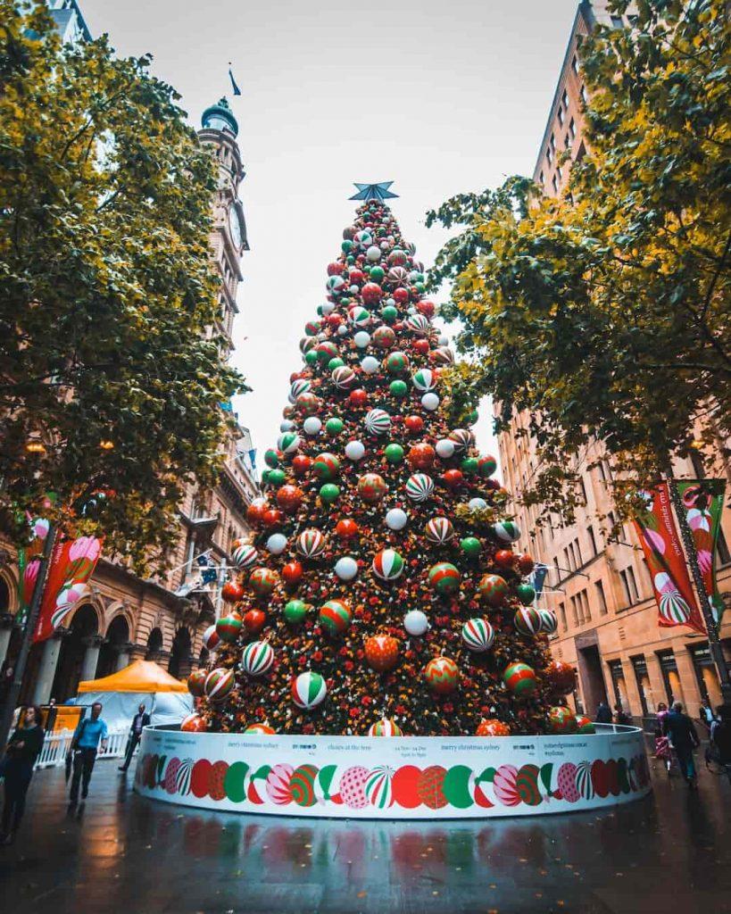 Decorated Christmas tree on the street of Sydney, Australia
