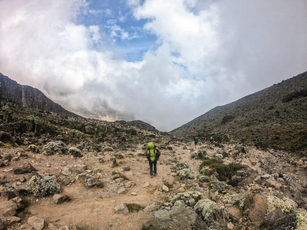 Person wearing hiking backpacking walking on trail at Kilimanjaro, Tanzania