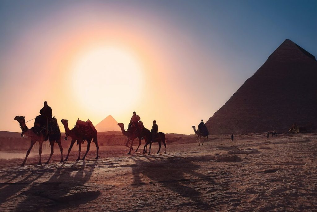 A group of people enjoy a camel riding adventure at sunset by the Pyramids of Giza
